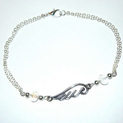 Angel wing and crystal links anklet
