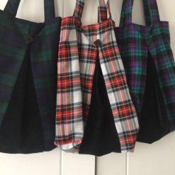 Handmade tartan and velvet bags
