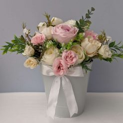 Beautiful Faux Flower arrangement for n metal bucket