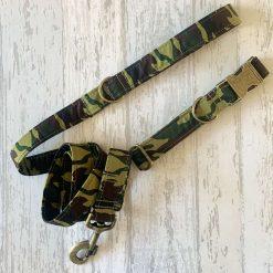 Green Camouflage Dog Collar & Lead Set