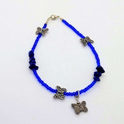 Beaded anklet with lapis chips and butterflies
