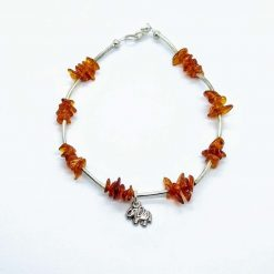 anklet with amber chips and little elephant dangle