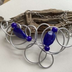 Big, Bold Royal Blue and Silver Twisted Wire Statement Necklace Set.