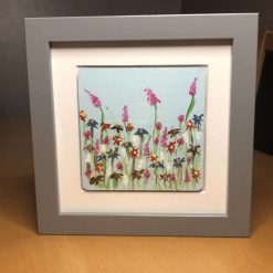 Hand painted flower boxed frame pictures