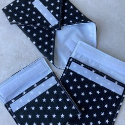 Reusable Snack Pouch Black and White Star