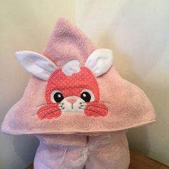 Pink bunny hooded towel