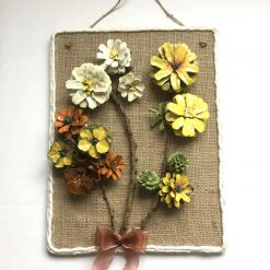 Pine cone daisy flower bouquet Floral picture hand painted 3D wall hanging price includes p&p