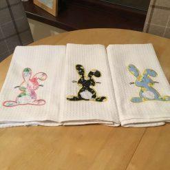 Bunny appliquéd tea towel
