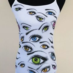 """""""All Eyes On Me"""" - Hand-painted Cami-top. Size 12"""