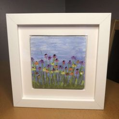 Hand painted flowers in white boxed frame
