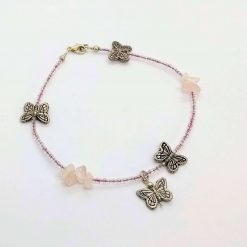 Beaded anklet with rose quartz chips and butterflies