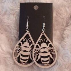 Wooden Earrings Laser Cut Big Bee Design