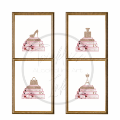 Designer Fashion Inspired Cherry Blossom Collection Set of 4 Prints with Faux Glitter, A4, Home Decor, Wall Art
