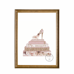 Designer Fashion Inspired Blush Pink Rose Collection Set of 4 Prints with Faux Glitter, A4, Home Decor, Wall Art