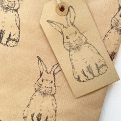 Hand Stamped Bunny Gift Wrap & Gift Tag (1 sheet & 1 tag)