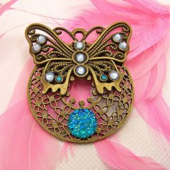 Bronze Butterfly Brooch, Filigree Mount, Blue rhinestones and Sparkle Cabochon. Free UK Postage