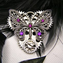 Silver Butterfly Brooch, Purple rhinestones and Gear Charms. Free UK Postage