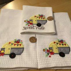 Caravan themed hand made tea towels