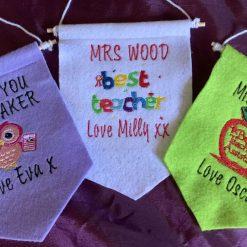Embroidered Teacher Felt Hanging Signs