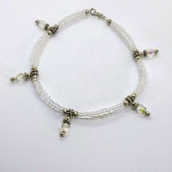 Beaded opalescent twist anklet with crystal bead drops