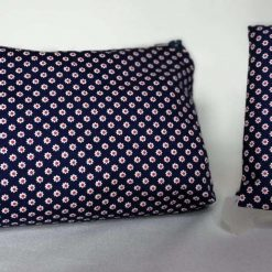 🌼 COSMETIC BAG Gift Set 🌼 Miniature DAISY Design (white flowers, red centre) 🌼 NAVY 🌼 inc. Pocket Tissue Pouch 🌼 Soft Touch 100% Cotton