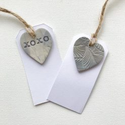 Set of Two Handmade Clay Heart Gift Tags