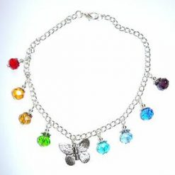 Rainbow and butterfly beaded anklet