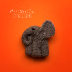 Elephant Needle Felted Brooch