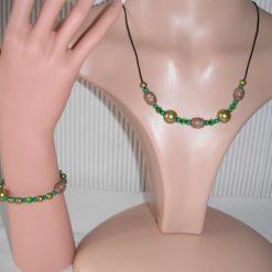 Black Antique Gold Necklace & Bracelet Set