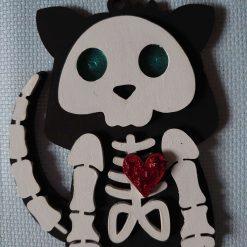 Cute skeleton cat, hanging MDF hanging Halloween bauble