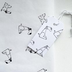 Hand Stamped Cute Dog Gift Wrap and Gift Tag (1 sheet & 1 tag)