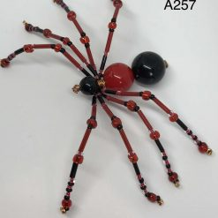 A257 Red and Black beaded spider