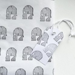 Hand Stamped Cute Elephant Gift Wrap and Gift Tag (1 sheet & 1 tag)