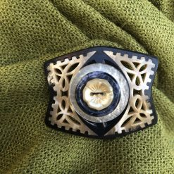 Handmade up cycled blue and cream button and buckle brooch.