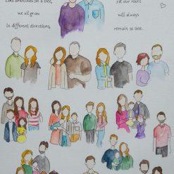 "Personalised Watercolour Family Portrait 12"" x 9"""