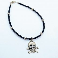 Beaded  lack anklet with silvery beads and skull dangle