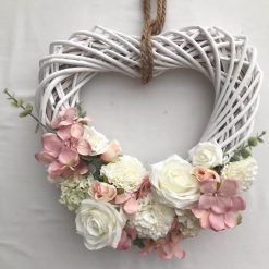 Gorgeous White Rattan Wreath Pale pink & Ivory faux flowers