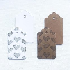 Hand Stamped Heart Gift Tags (set of 6)