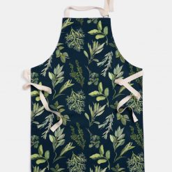 Herb Illustrated Apron - Navy