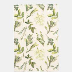 Herb Illustrated Tea Towel - Ivory
