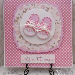 Luxury Handmade New Baby - Baby Shoes - Welcome to the world - Pink check