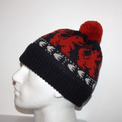 Rust Red Dinosaurs T Rex and Prints on Black Beanie Hat - with or without pompom