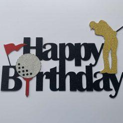 Golf Happy Birthday Cake Topper (male)