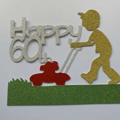 Gardening Lawnmower Cake Topper with any age