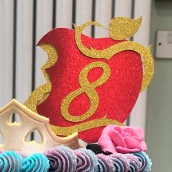 Descendants inspired Apple Cake Topper with Age (unofficial)