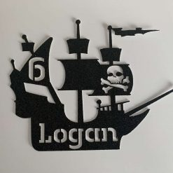Personalised Pirate Ship Cake Topper with Name and Age