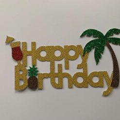 Beach Theme Happy Birthday Cake Topper
