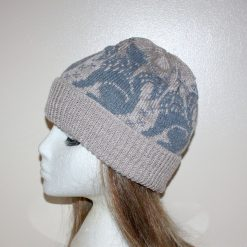 Grey Howling Alsatian, Eskimo, Wolf Hound Husky dogs Beige Beanie Hat - with or without Pompom option - Teenager upto adult