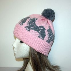 Grey Swedish Vallhund or Pomsky Dogs on a Baby Pink Beanie Hat - with or without pompom option - Unisex teenager upto adult size