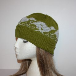 Green Beanie Hat with Grey Racing Whippet or Greyhound dogs - with or without pompom - Teenager to Adult unisex size